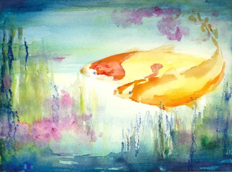 SOLD — two-kois-in-aquarium
